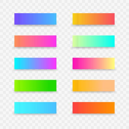 Colorful post note stickers. Sticky colourful note template with gradient on transparent background. Vector sticky paper tapes with shadow for business office or child reminder