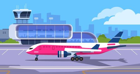 Airport terminal. Cartoon transport hub with passengers waiting to arrival and departure, vector transport aircraft and dispatchers tower. Illustration concept plane before dispatch