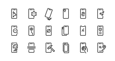 Smartphone repair icons. Dropped phone with cracked screen, broken tempered glass protection, water resistance. Vector set icon cell phones with possible problem and fix it Çizim