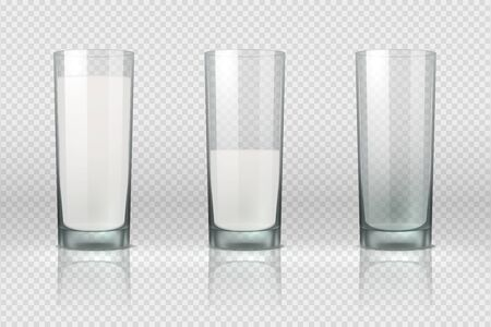 Milk glass. Realistic empty, half full and full glass with milk isolated on transparent background. Vector set nonalcoholic dairy drinks for healthy lifestyle or diet