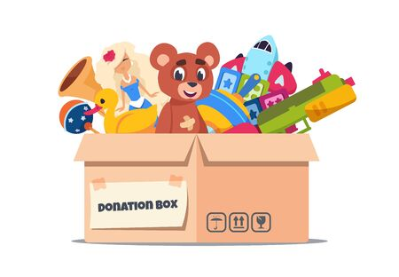Donation toy box. Cardboard containers with social care and support for pure kids on white. Vector volunteer charity and help for support children and giving care concept Çizim