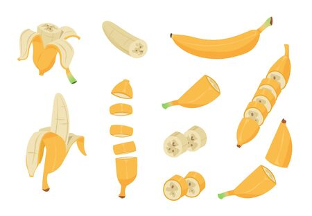 Cartoon banana. Healthy tropical fruit, banana peel, single and peeled design clip art elements. Vector collection images single vegan nutrition isolated set