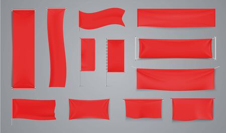 Red textile advertising banners. Waving fabric flag on metal rod. Vector collection realistic illustration waving banner for presentation or support in sport Çizim