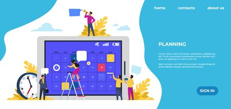Schedule landing page. Time management, office work events and meetings. Vector web page with entrepreneurship or schedule training planning events