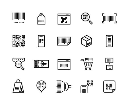 Barcodes line icons. Ticket with QR code and mobile application with price tags, product label and barcode scanner vector set. Sign or symbol scanning stamp for logistics distribute delivery
