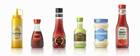 Sauce bottles. Ketchup mayonnaise and mustard realistic containers, hot chilli and soy sauces. Vector design plastic and glass packaging for condiments and other ingredients sauces fast food