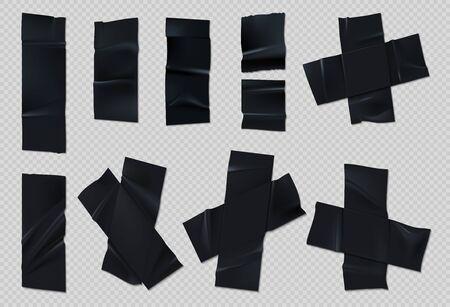 Schwarzes Klebeband. Realistische Gruppe zerrissener Scotch mit Falten auf transparentem Hintergrund. Vektorset aus Klebebandstücken mit gerissenen Kanten zum Kleben von Paketen oder geklebtem Papier Vektorgrafik