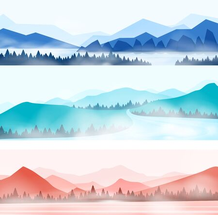 Mountains landscape. Silhouette panorama of foggy forest and snowy mountain peaks, nature outdoor panorama. Vector illustration beauty abstract silhouette wood and mountains Ilustração