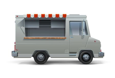 Food truck. Realistic mockup of ice cream or street food trailer with open window, canteen on wheels isolated on white. Vector cargo van for mobile fastfood sell Çizim