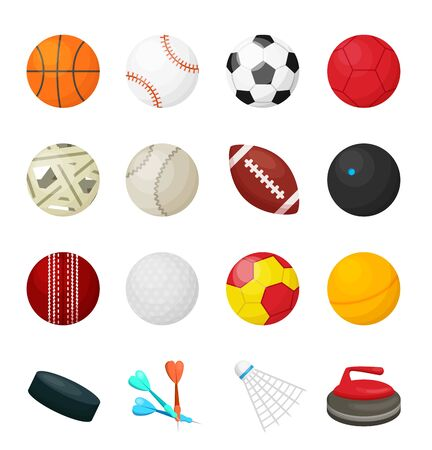Game balls. Flat sport equipment for soccer football basketball hockey baseball games and different. Vector set of sport leather balls isolated on white background