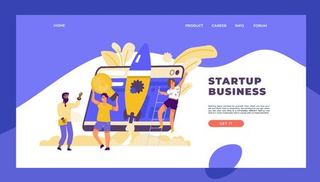 Startup landing page. Business marketing template with cartoon characters, technology and innovation concept. Vector website mockup modern web technology in developer plan start up