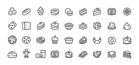 Bread line icons. Bakery and dessert with croissant muffin donut pizza sandwich cookies and cakes. Vector illustration sweet bakery linear symbols set on white Çizim
