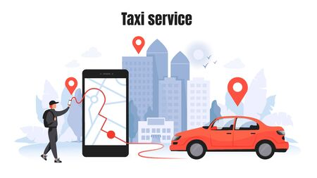 Taxi ordering. Car rent and sharing concept with cartoon character, mobile application mockup. Vector delivery service vehicle illustrations template for using in navigational technology Illustration