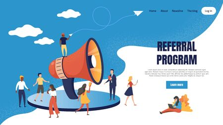 Referral marketing landing page. Loudspeaker business announcements of referral customer loyalty program. Vector web page partnership base friendly customers concept Çizim