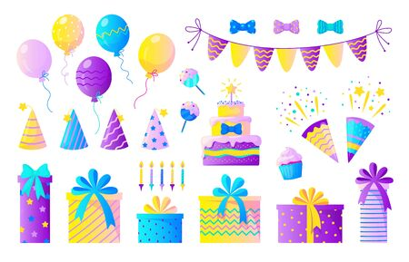 Birthday party set. Decorative elements for children party, colorful confetti balloons candles and birthday presents. Vector set sweet elements celebration out food Çizim