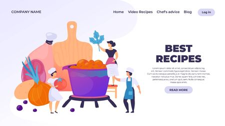 Cooking landing page. Professional chef cartoon character preparing dinner, restaurant culinary website. Vector cooking webpage or banner traditional cooking