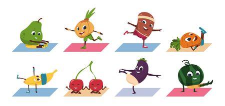 Frucht-Yoga. Lustige Cartoon-Gemüsefiguren, die Yoga-Posen und Sportübungen, gesundes Essen und Fitnesstraining machen. Vektor-Set Comic-Charakter-Frucht im athletischen Training