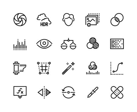 Photo editing line icons. Camera image correction, beautifier filters, contrast and light balance tools. Vector healing instruments simple icon Illustration