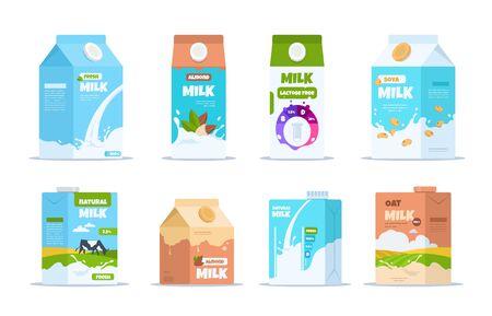 Milchkiste. Cartoon-Lebensmittelbehälter mit Mandel-Bio-Soja und laktosefreier Milch. Vektor-Set-Layout von Behältern für vegane Milch isoliert auf weißem Hintergrund