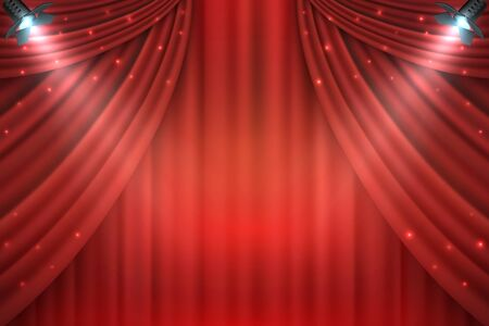 Theater curtains background. Realistic red velours open drapes, 3D realistic movie award stage. Vector illustration entertainment shows premiere template with spotlight Ilustração