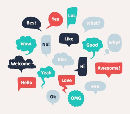 Chat hand drawn speech bubbles. Thinking balloon with rough edges and noisy grunge texture. Vector illustration set isolated chatting comments abstract shape Çizim