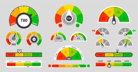 Credit score indicators. Level indicator credit limit. Speedometer goods gauge rating meter. Vector illustration set icon high level quality with arrow and scale measurement Illustration