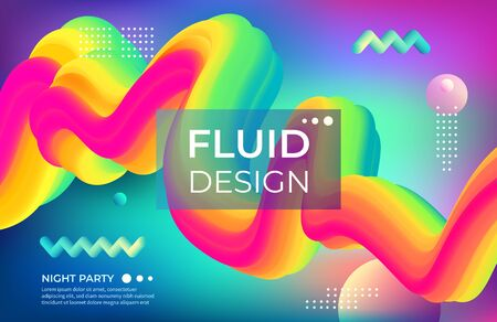 Abstract color background. Fluid geometric shapes and bright colorful objects. Vector modern poster designing and club party banner with geometrical motion elements