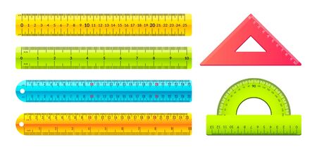 Ruler. Cartoon measuring tools with metric and inch marks, plastic geometry centimeter tape. Vector isolated set of ruler protractor and triangle, mathematics tool