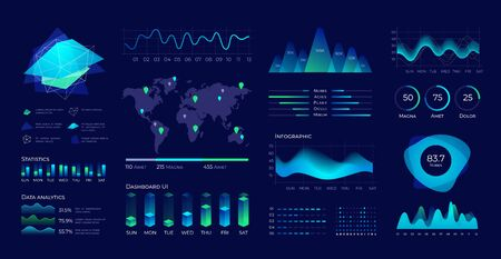 Dashboard UI. Futuristic data panel with user interface elements, diagrams and charts. Vector data analytic and technology visualization digital data web screen graphs