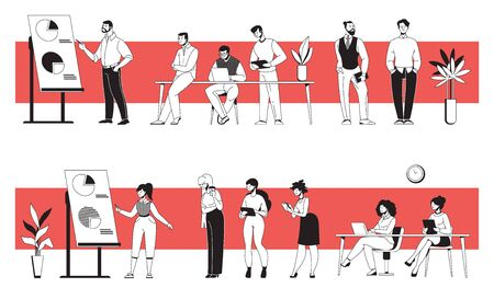 Business people in office. Young diverse men and women discussing presentation, meeting and working together. Vector cartoon modern office persons, illustration businessman communication in workspace