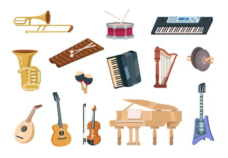 Cartoon musical instruments. Acoustic, electric, string and wind musical instruments with piano, guitars and drums. Vector isolated set audio entertainment elements concert instrument