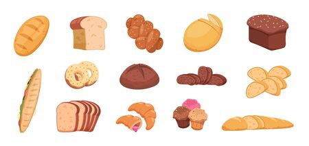 Cartoon bread. Wheat rye and buckwheat sliced and whole bread baguette croissant bagel, toast bread pita and ciabatta. Vector bakery set isolate on white
