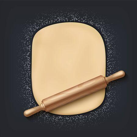 Teig und Nudelholz. Realistische 3D-Bäckereimischung mit Mehlteig und hölzernem Nudelholz auf dem Tisch. Vektorelemente für Bäckerei- oder Caféplakat auf schwarzem Hintergrund
