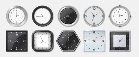 Realistic clock. Square and round metal and plastic office clocks with black and white dials and bezels. Vector wall watches with hour and minute arrows for business office on transparent background