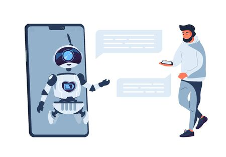 Chatbot concept. Chat bot customer support, artificial intelligence. Vector flat illustration online help service with smart assistant on smartphone screen