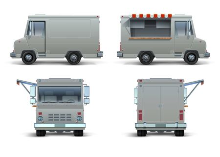 Food truck mockup. Realistic delivery car or mobile kitchen with open window for brand identity. Vector blank isolated set of street food truck on white background like restaurant commercial brand