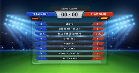 Football scoreboard. Soccer cup statistics of teams, championship or sport match information table on vector background of football stadium. Sport league lineup statistics information outdoor Çizim