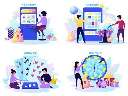 Flat lottery. Cartoon bingo game scenes with happy characters, lotto spinner, fortune wheel and gambling machine. Vector set instant casino play