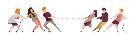 Tirez sur la corde. Un groupe de personnes en dessin animé participe à un concours, des équipes de travailleurs et des employés de bureau tirant les extrémités opposées de la corde. Illustrations vectorielles en face de la gestion de la compétition par équipe dans le travail d'équipe Vecteurs