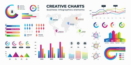 Graphs and charts. Business statistics for data and finance analysis, collection of information visualization. Vector schemes diagrams and bar charts set circular and column type