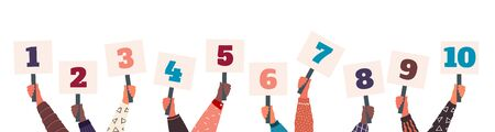 Male and female hands holding signs with amount of scores. Votes of judges. Vector collections cartoons signs with different numbers for judge contest