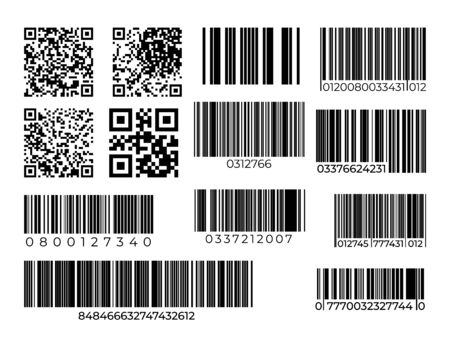 Barcode and QR code set. Scan bar industrial or supermarket label. Vector modern identification items scanning barcode badges sign Stock Illustratie