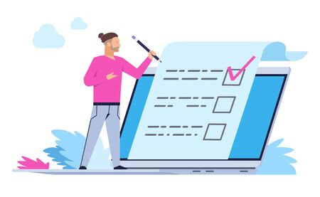 Man fill out online form. Cartoon person with laptop puts a mark. Vector illustrations applications health survey or client claim concept