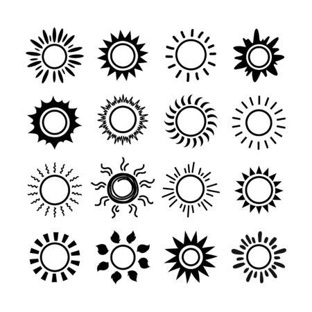 Sun symbol icon set. Summer spring sunshine rays sign. Weather bright sunlight iconic illustration. Vector image sunrise flat logo on white background Foto de archivo - 140538932