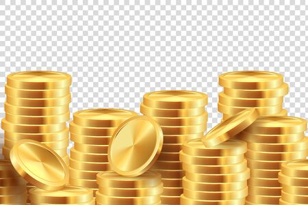Golden coin background. Realistic gold money stacks. Game coins template like symbol banking finances. Vector 3D cash banner winning on transparent background