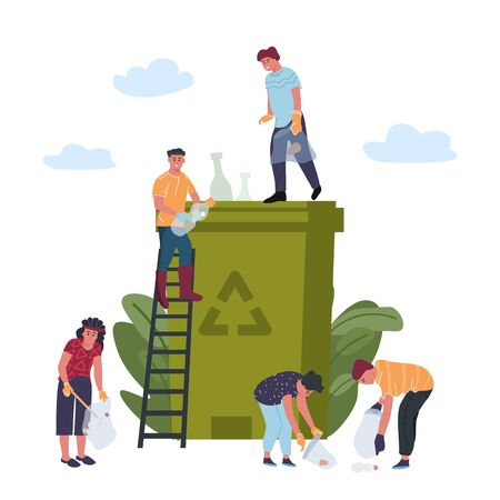 Recycling concept. People is engaged in recycling garbage, sorting plastic waste and disposal products. Vector environmental protection, process against pollution concept