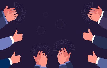 Pulgares arriba y aplaudir. Gestos de aplausos con las manos. Concepto de éxito, celebración y felicitaciones empresarial. Vector de dibujos animados aplaudir signos ilustración