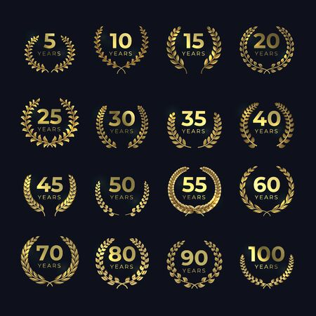 Golden anniversary laurel wreaths. Birthday gold symbol set with laurels leaf shapes. Vector template emblem for achievement award 向量圖像