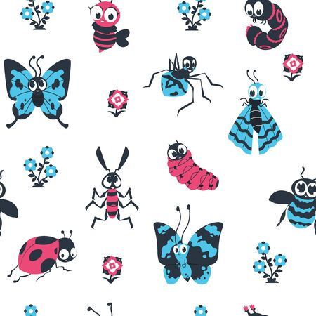 Cute cartoon insects seamless pattern. Beetles and bees with happy face, spider caterpillar butterfly background. Vector children cute pattern for design colorful wallpapers