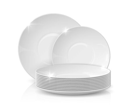 Realistic dishes. Stack of plates and bowls, 3D white ceramic crockery, dishware mockup isolated on white. Vector illustration stacked kitchen tableware for restaurant serving